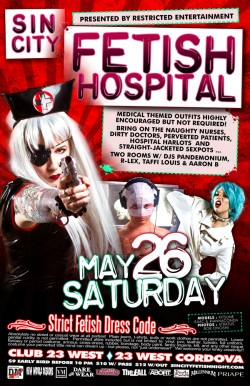 Sin City Fetish Hospital 2012 flyer design by Isaac Terpstra